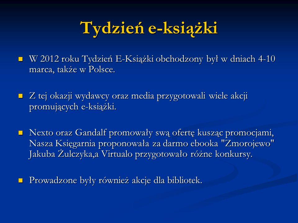 Tydzień e-książki W 2012 roku Tydzień E-Książki obchodzony był w dniach 4-10 marca, także w Polsce. W 2012 roku Tydzień E-Książki obchodzony był w dni