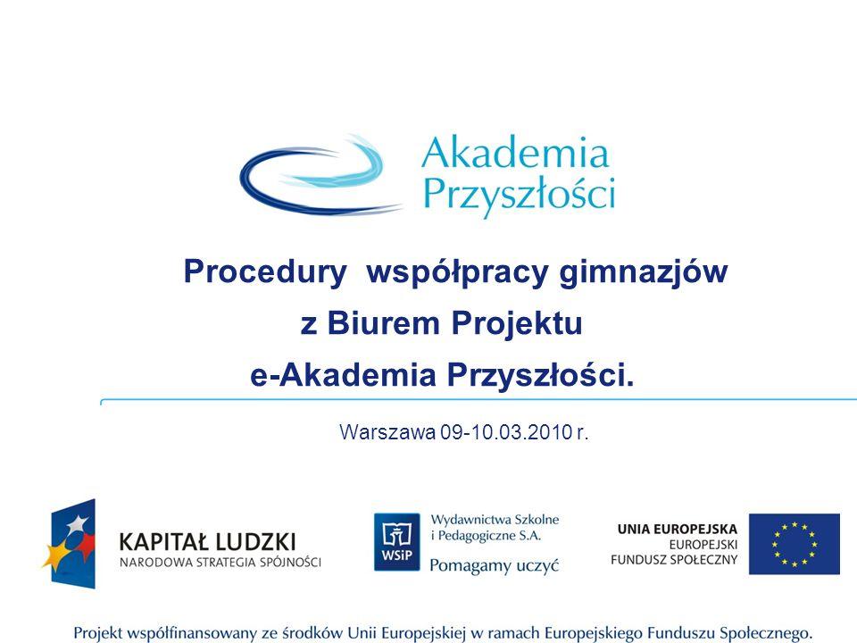 Procedury współpracy gimnazjów z Biurem Projektu e-Akademia Przyszłości. Warszawa 09-10.03.2010 r.