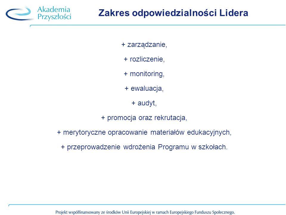 Zakres odpowiedzialności Lidera + zarządzanie, + rozliczenie, + monitoring, + ewaluacja, + audyt, + promocja oraz rekrutacja, + merytoryczne opracowanie materiałów edukacyjnych, + przeprowadzenie wdrożenia Programu w szkołach.