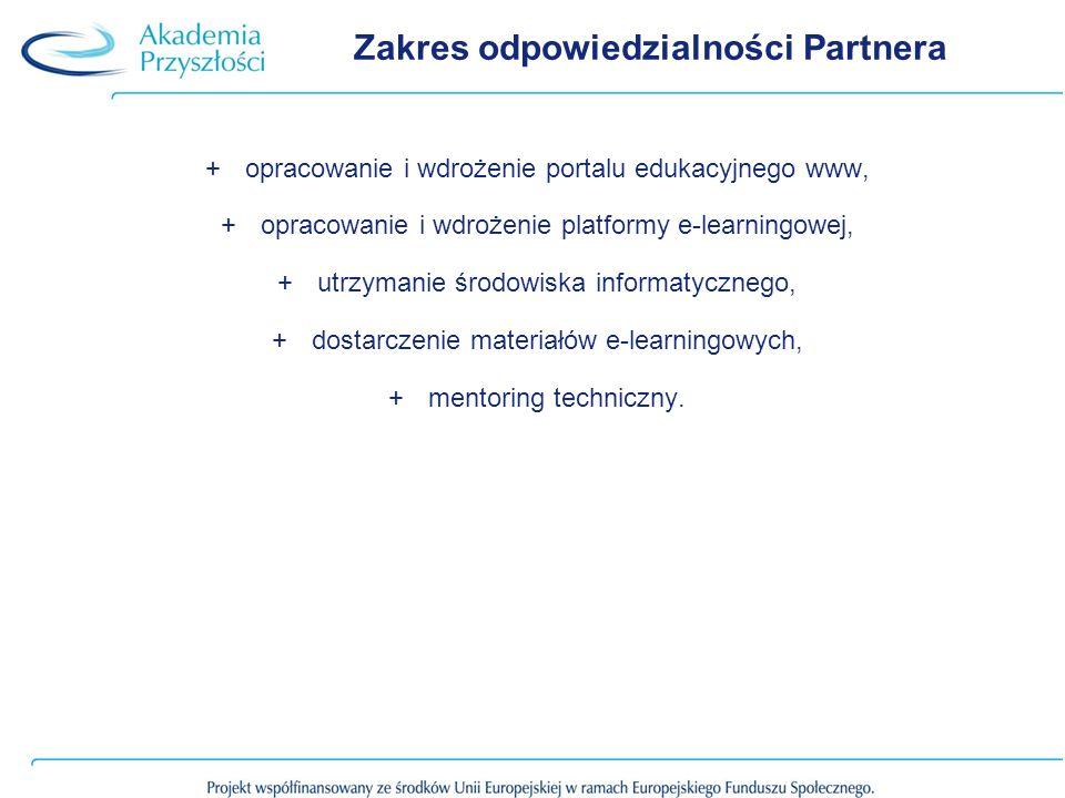 Zakres odpowiedzialności Partnera +opracowanie i wdrożenie portalu edukacyjnego www, +opracowanie i wdrożenie platformy e-learningowej, +utrzymanie środowiska informatycznego, +dostarczenie materiałów e-learningowych, +mentoring techniczny.