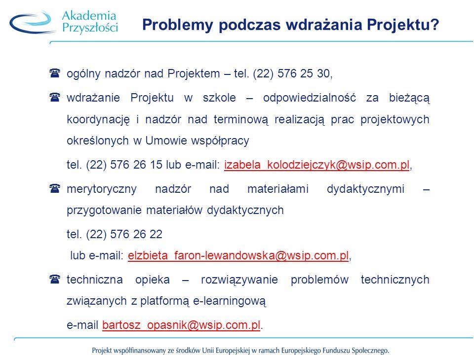 Problemy podczas wdrażania Projektu. ogólny nadzór nad Projektem – tel.