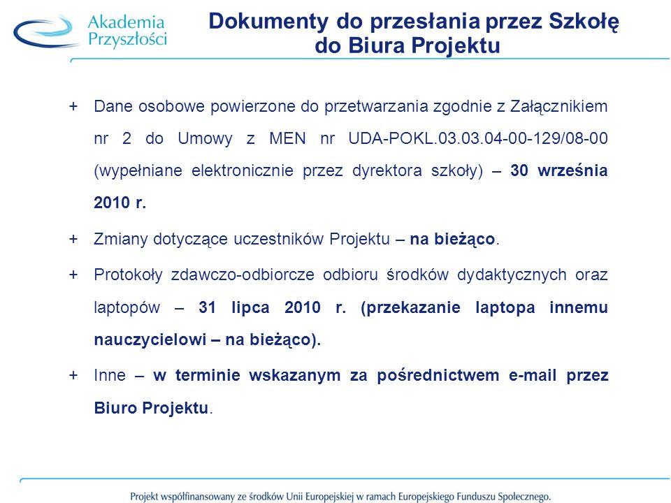 Dokumenty do przesłania przez Szkołę do Biura Projektu +Dane osobowe powierzone do przetwarzania zgodnie z Załącznikiem nr 2 do Umowy z MEN nr UDA-POKL.03.03.04-00-129/08-00 (wypełniane elektronicznie przez dyrektora szkoły) – 30 września 2010 r.