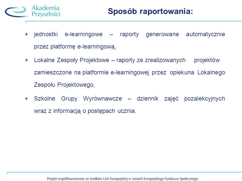 Sposób raportowania: +jednostki e-learningowe – raporty generowane automatycznie przez platformę e-learningową, +Lokalne Zespoły Projektowe – raporty ze zrealizowanych projektów zamieszczone na platformie e-learningowej przez opiekuna Lokalnego Zespołu Projektowego, +Szkolne Grupy Wyrównawcze – dziennik zajęć pozalekcyjnych wraz z informacją o postępach ucznia.