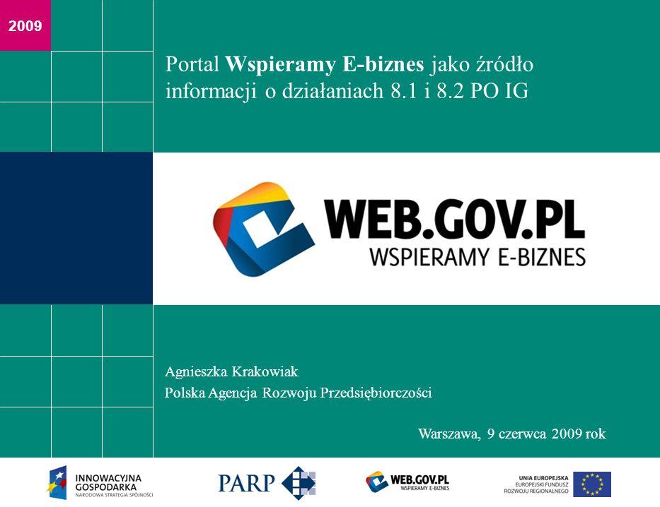 2009 Portal Wspieramy E-biznes jako źródło informacji o działaniach 8.1 i 8.2 PO IG Agnieszka Krakowiak Polska Agencja Rozwoju Przedsiębiorczości Wars