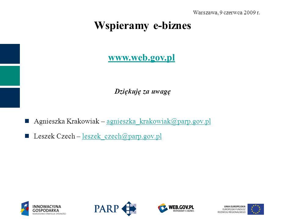 Warszawa, 9 czerwca 2009 r. Wspieramy e-biznes Dziękuję za uwagę Agnieszka Krakowiak – agnieszka_krakowiak@parp.gov.plagnieszka_krakowiak@parp.gov.pl