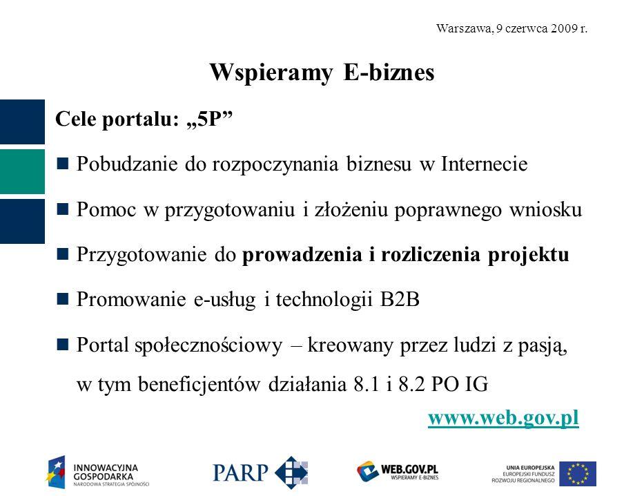 Warszawa, 9 czerwca 2009 r. Wspieramy E-biznes Cele portalu: 5P Pobudzanie do rozpoczynania biznesu w Internecie Pomoc w przygotowaniu i złożeniu popr
