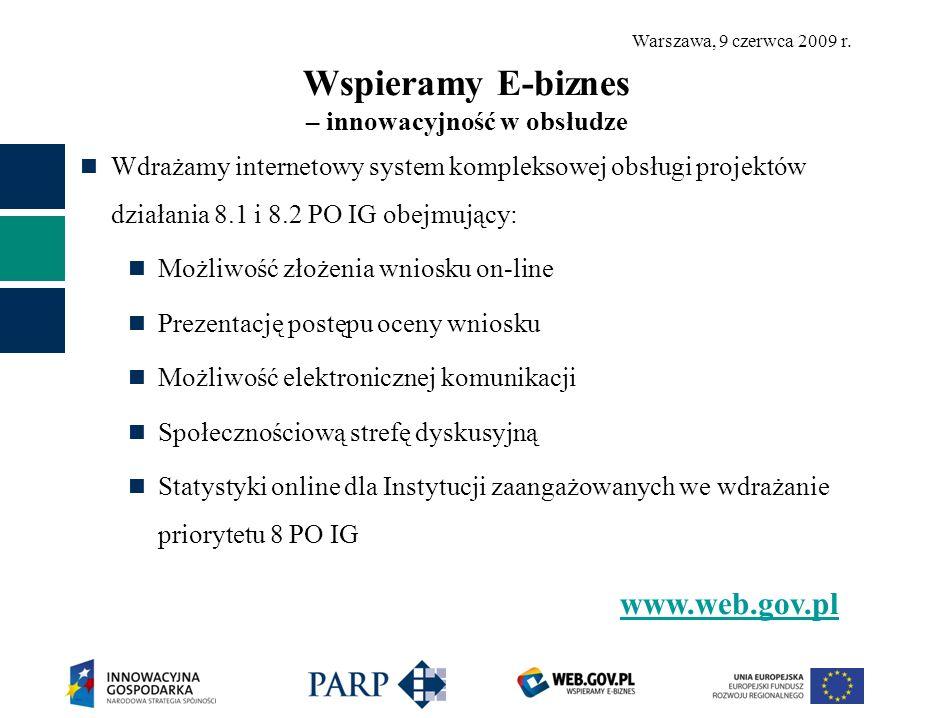 Warszawa, 9 czerwca 2009 r. Wspieramy E-biznes – innowacyjność w obsłudze Wdrażamy internetowy system kompleksowej obsługi projektów działania 8.1 i 8