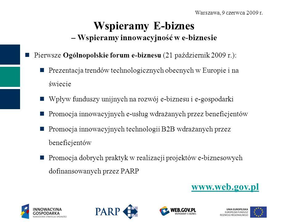 Warszawa, 9 czerwca 2009 r. Wspieramy E-biznes – Wspieramy innowacyjność w e-biznesie Pierwsze Ogólnopolskie forum e-biznesu (21 październik 2009 r.):