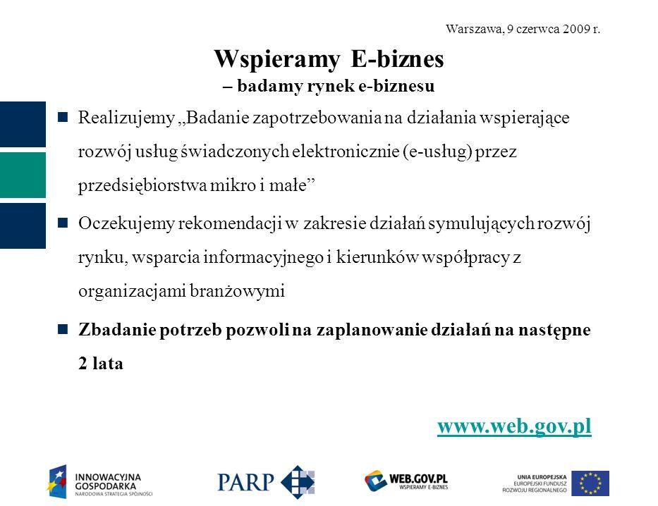 Warszawa, 9 czerwca 2009 r. Wspieramy E-biznes – badamy rynek e-biznesu Realizujemy Badanie zapotrzebowania na działania wspierające rozwój usług świa