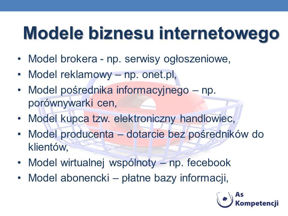 Modele biznesu internetowego Model brokera - np. serwisy ogłoszeniowe, Model reklamowy – np. onet.pl, Model pośrednika informacyjnego – np. porównywar