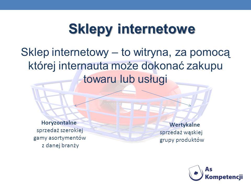 Sklepy internetowe Sklep internetowy – to witryna, za pomocą której internauta może dokonać zakupu towaru lub usługi Horyzontalne sprzedaż szerokiej gamy asortymentów z danej branży Wertykalne sprzedaż wąskiej grupy produktów