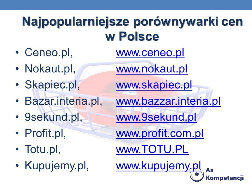Najpopularniejsze porównywarki cen w Polsce Ceneo.pl,www.ceneo.plwww.ceneo.pl Nokaut.pl,www.nokaut.plwww.nokaut.pl Skapiec.pl,www.skapiec.plwww.skapiec.pl Bazar.interia.pl,www.bazzar.interia.plwww.bazzar.interia.pl 9sekund.pl,www.9sekund.plwww.9sekund.pl Profit.pl,www.profit.com.plwww.profit.com.pl Totu.pl,www.TOTU.PLwww.TOTU.PL Kupujemy.pl,www.kupujemy.plwww.kupujemy.pl