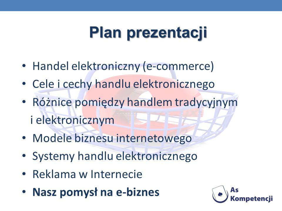 Plan prezentacji Handel elektroniczny (e-commerce) Cele i cechy handlu elektronicznego Różnice pomiędzy handlem tradycyjnym i elektronicznym Modele biznesu internetowego Systemy handlu elektronicznego Reklama w Internecie Nasz pomysł na e-biznes