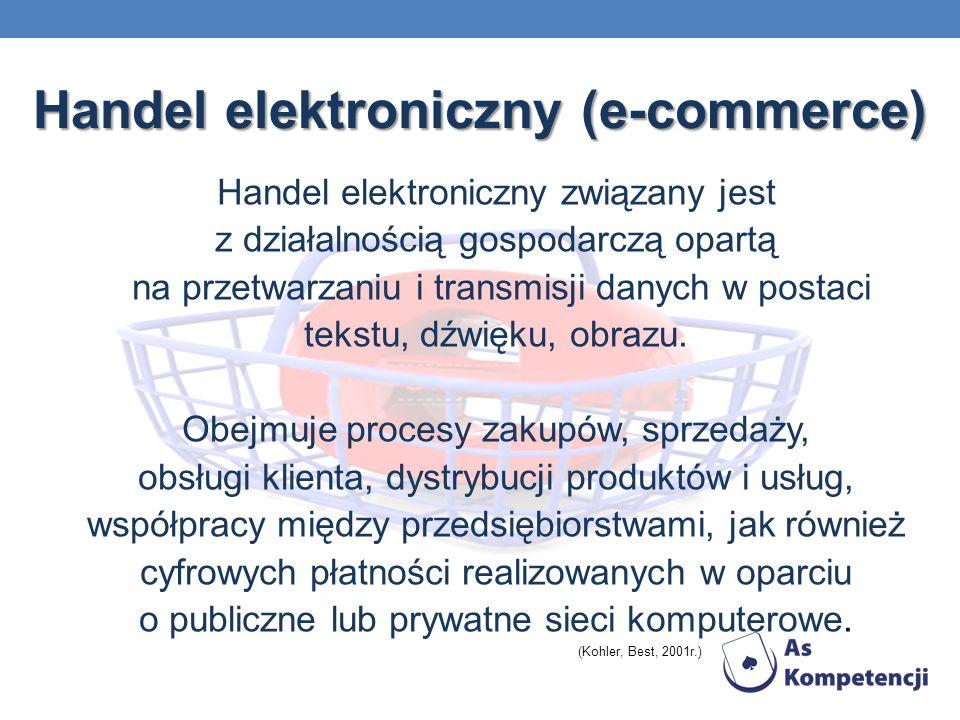 Handel elektroniczny (e-commerce) Handel elektroniczny związany jest z działalnością gospodarczą opartą na przetwarzaniu i transmisji danych w postaci tekstu, dźwięku, obrazu.