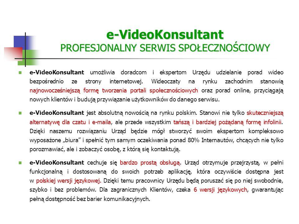 e-VideoKonsultant PROFESJONALNY SERWIS SPOŁECZNOŚCIOWY najnowocześniejszą formę tworzenia portali społecznościowych e-VideoKonsultant umożliwia doradcom i ekspertom Urzędu udzielanie porad wideo bezpośrednio ze strony internetowej.