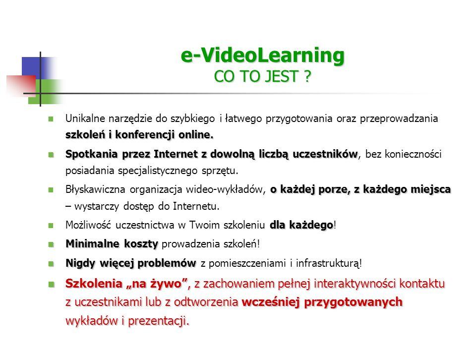 e-VideoLearning CO TO JEST . szkoleń i konferencji online.