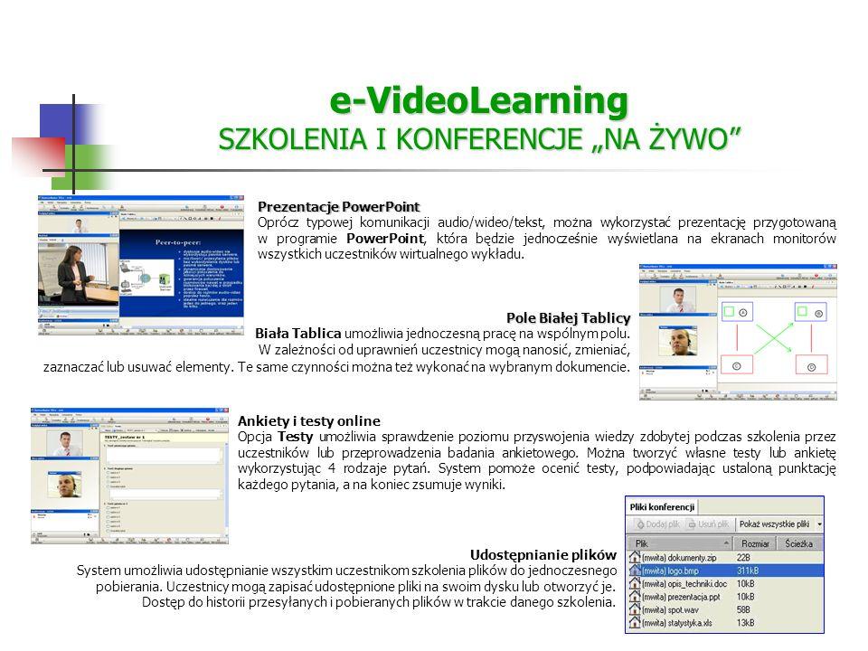 e-VideoLearning SZKOLENIA I KONFERENCJE NA ŻYWO Prezentacje PowerPoint Oprócz typowej komunikacji audio/wideo/tekst, można wykorzystać prezentację przygotowaną w programie PowerPoint, która będzie jednocześnie wyświetlana na ekranach monitorów wszystkich uczestników wirtualnego wykładu.