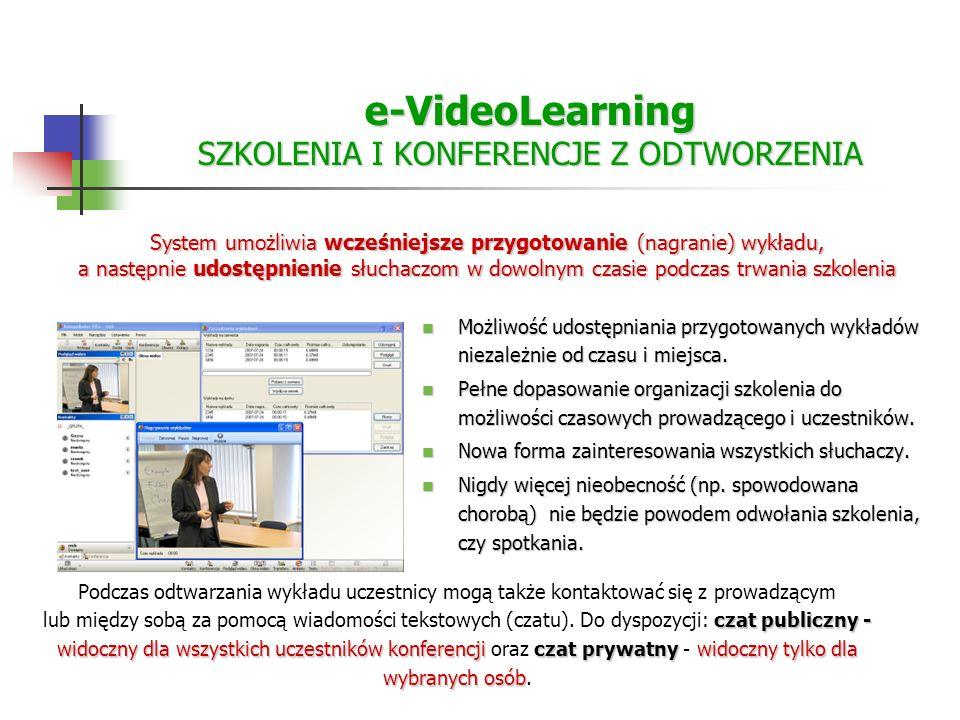 e-VideoLearning SZKOLENIA I KONFERENCJE Z ODTWORZENIA Możliwość udostępniania przygotowanych wykładów niezależnie od czasu i miejsca.