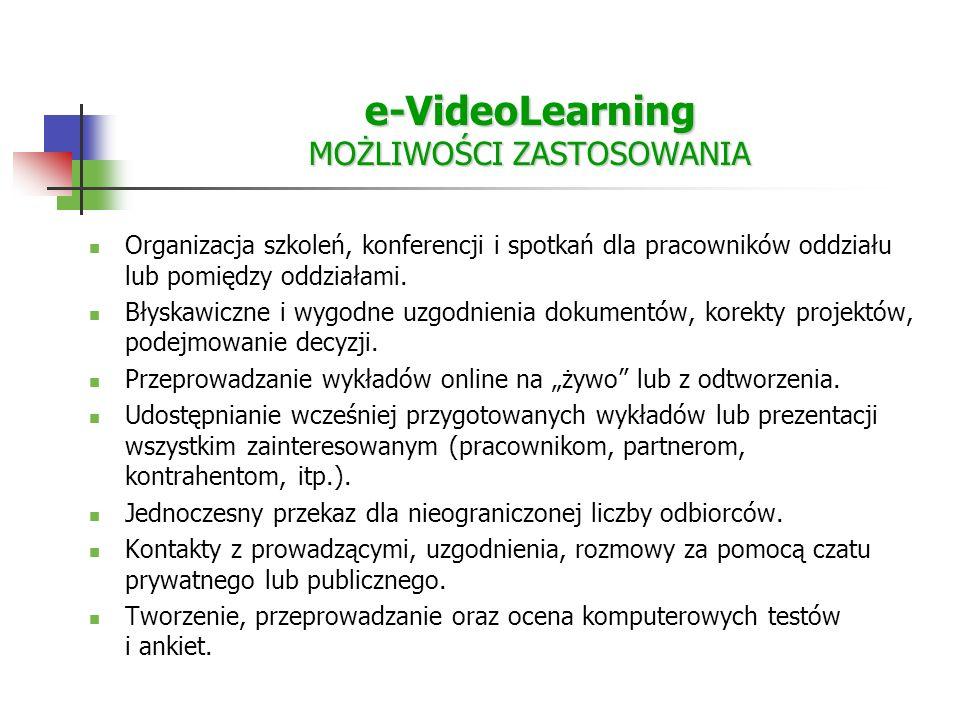 e-VideoLearning MOŻLIWOŚCI ZASTOSOWANIA Organizacja szkoleń, konferencji i spotkań dla pracowników oddziału lub pomiędzy oddziałami.