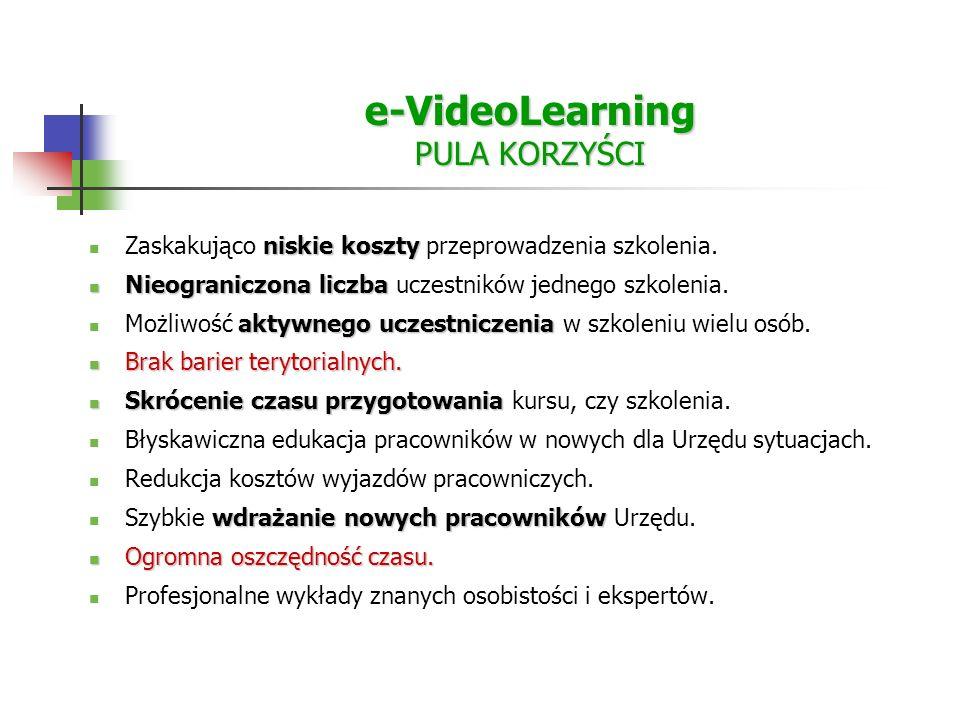 e-VideoLearning PULA KORZYŚCI niskie koszty Zaskakująco niskie koszty przeprowadzenia szkolenia.