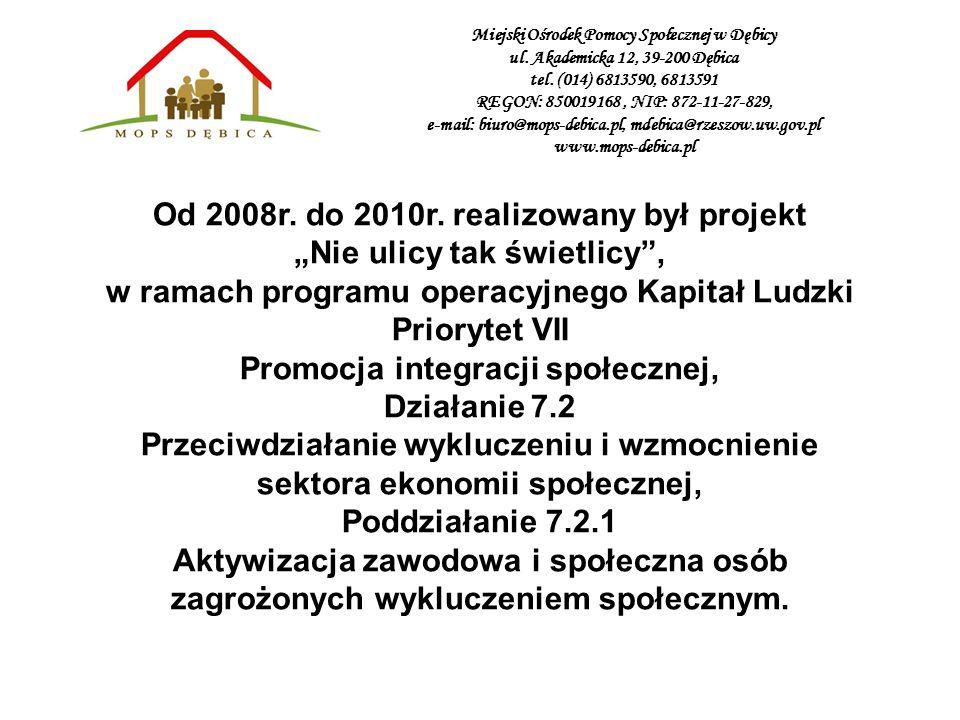 Od 2008r. do 2010r. realizowany był projekt Nie ulicy tak świetlicy, w ramach programu operacyjnego Kapitał Ludzki Priorytet VII Promocja integracji s