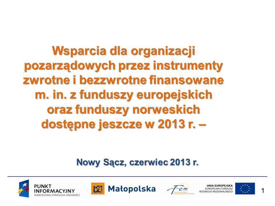 Nowy Sącz, czerwiec 2013 r. Wsparcia dla organizacji pozarządowych przez instrumenty zwrotne i bezzwrotne finansowane m. in. z funduszy europejskich o