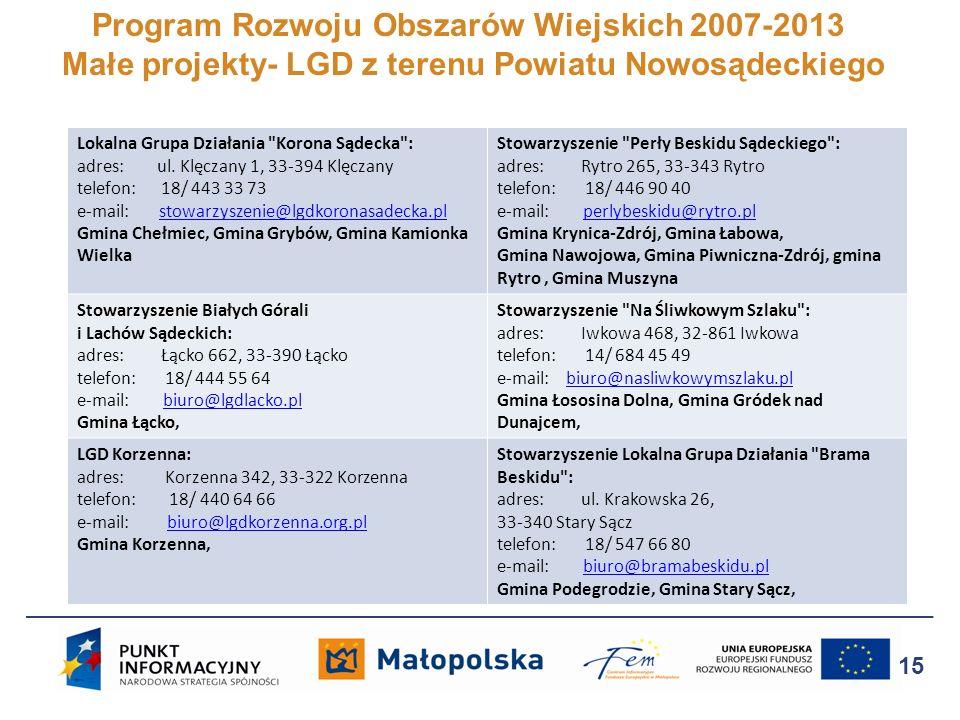 Program Rozwoju Obszarów Wiejskich 2007-2013 Małe projekty- LGD z terenu Powiatu Nowosądeckiego 15 Lokalna Grupa Działania