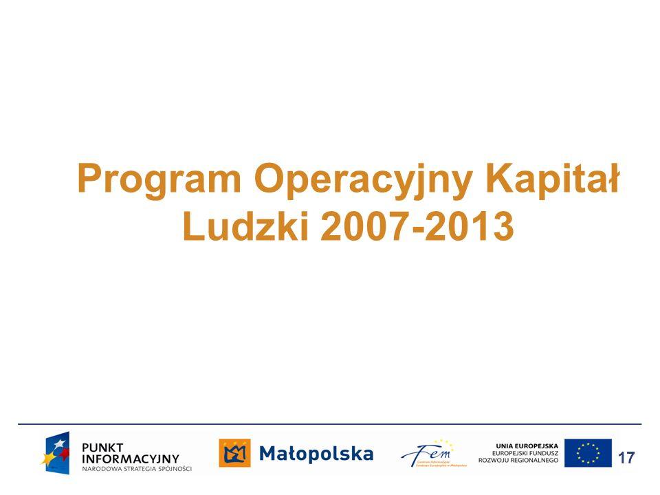 Program Operacyjny Kapitał Ludzki 2007-2013 17