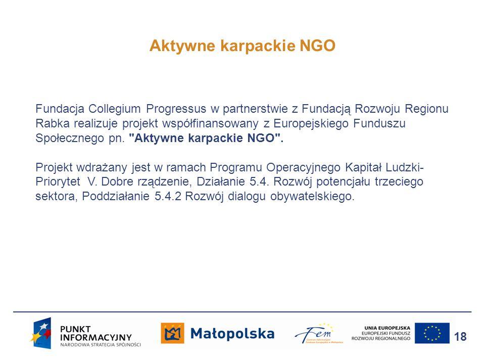 Aktywne karpackie NGO 18 Fundacja Collegium Progressus w partnerstwie z Fundacją Rozwoju Regionu Rabka realizuje projekt współfinansowany z Europejski