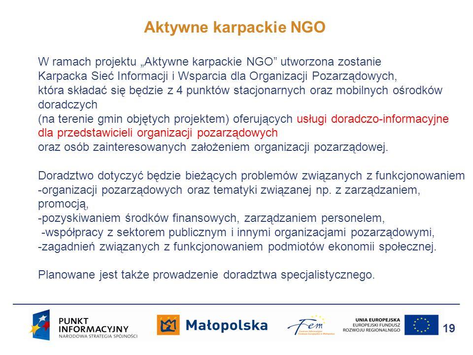 Aktywne karpackie NGO 19 W ramach projektu Aktywne karpackie NGO utworzona zostanie Karpacka Sieć Informacji i Wsparcia dla Organizacji Pozarządowych,