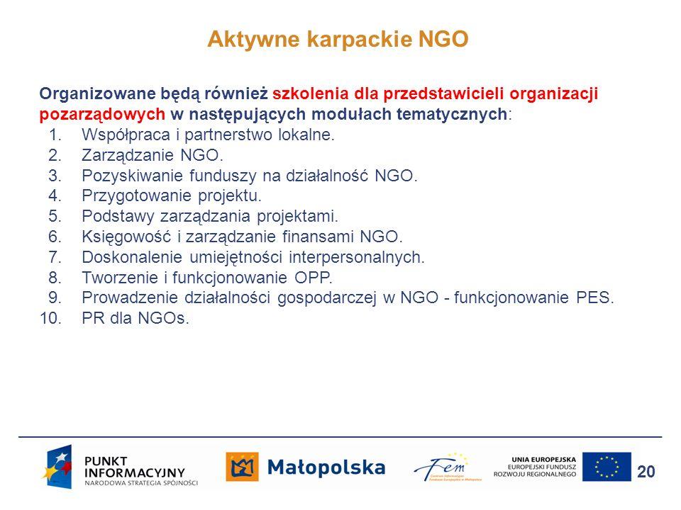 Aktywne karpackie NGO 20 Organizowane będą również szkolenia dla przedstawicieli organizacji pozarządowych w następujących modułach tematycznych: 1. W