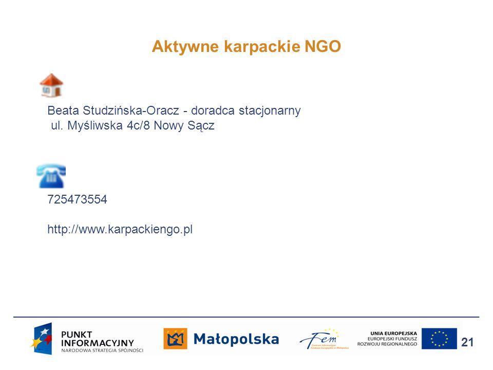 Aktywne karpackie NGO 21 Beata Studzińska-Oracz - doradca stacjonarny ul. Myśliwska 4c/8 Nowy Sącz 725473554 http://www.karpackiengo.pl