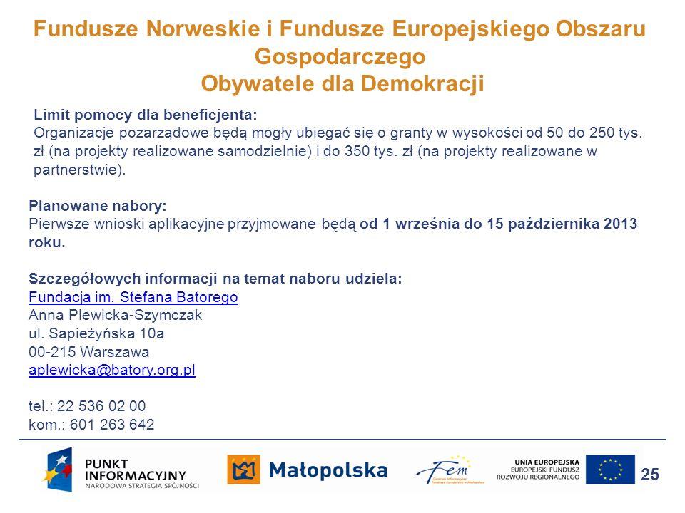 Fundusze Norweskie i Fundusze Europejskiego Obszaru Gospodarczego Obywatele dla Demokracji 25 Limit pomocy dla beneficjenta: Organizacje pozarządowe b