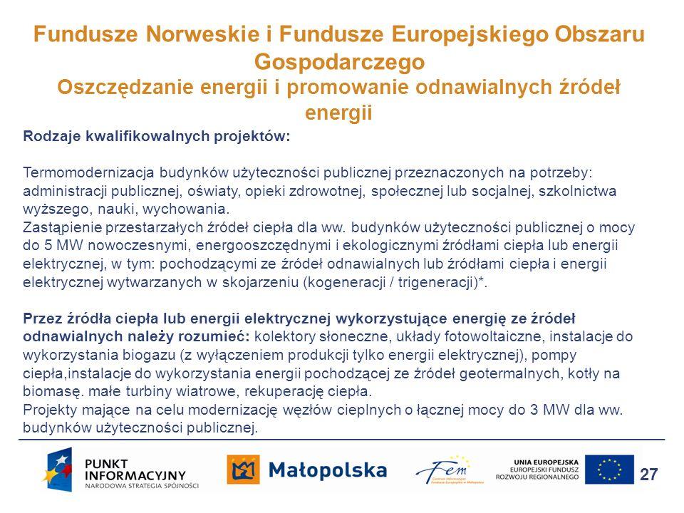 Fundusze Norweskie i Fundusze Europejskiego Obszaru Gospodarczego Oszczędzanie energii i promowanie odnawialnych źródeł energii 27 Rodzaje kwalifikowa