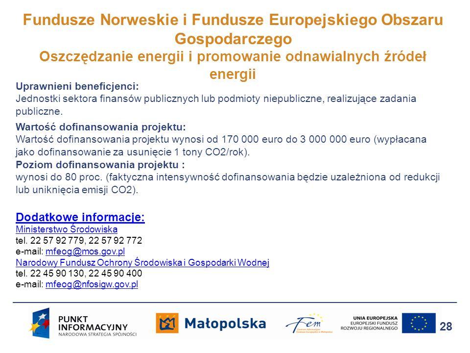 Fundusze Norweskie i Fundusze Europejskiego Obszaru Gospodarczego Oszczędzanie energii i promowanie odnawialnych źródeł energii 28 Uprawnieni beneficj