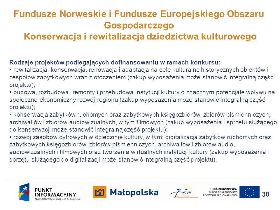 Fundusze Norweskie i Fundusze Europejskiego Obszaru Gospodarczego Konserwacja i rewitalizacja dziedzictwa kulturowego 30 Rodzaje projektów podlegający