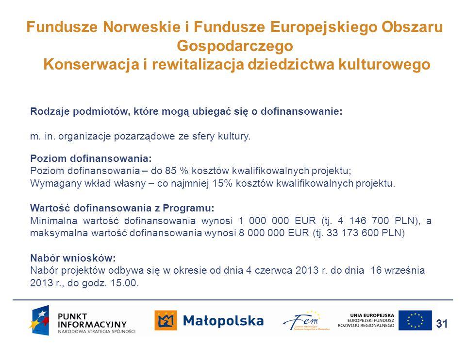 Fundusze Norweskie i Fundusze Europejskiego Obszaru Gospodarczego Konserwacja i rewitalizacja dziedzictwa kulturowego 31 Rodzaje podmiotów, które mogą