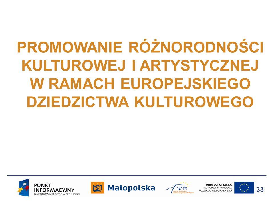 PROMOWANIE RÓŻNORODNOŚCI KULTUROWEJ I ARTYSTYCZNEJ W RAMACH EUROPEJSKIEGO DZIEDZICTWA KULTUROWEGO 33