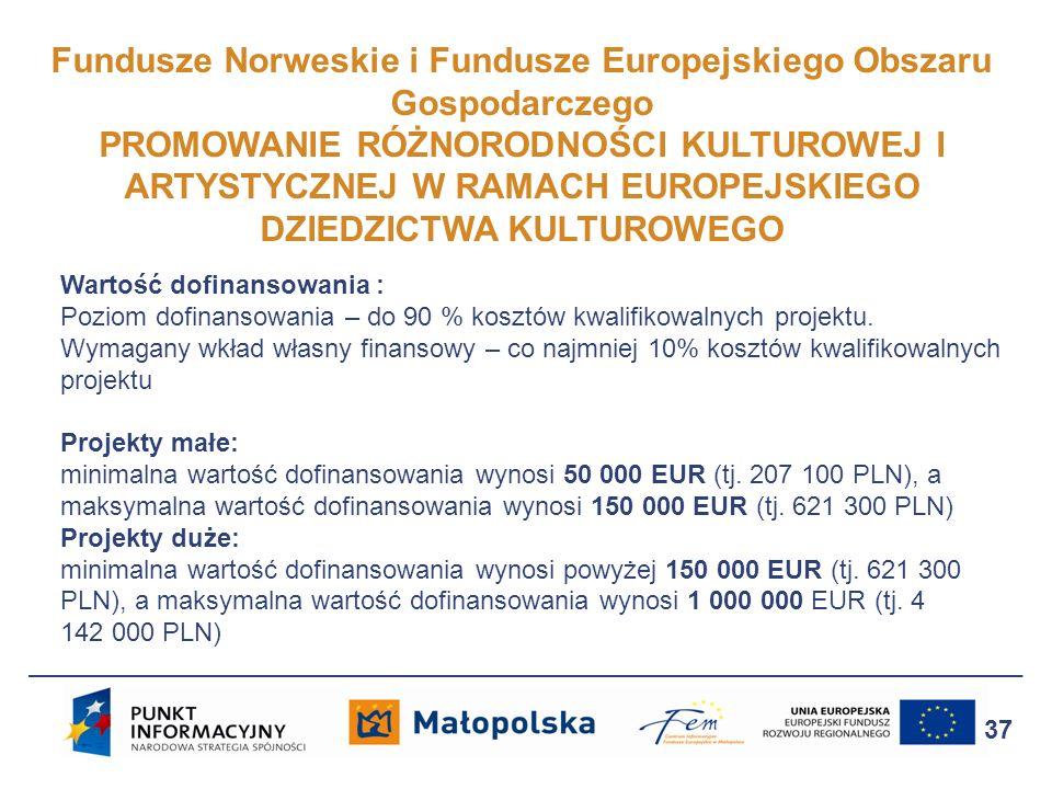 Fundusze Norweskie i Fundusze Europejskiego Obszaru Gospodarczego PROMOWANIE RÓŻNORODNOŚCI KULTUROWEJ I ARTYSTYCZNEJ W RAMACH EUROPEJSKIEGO DZIEDZICTW