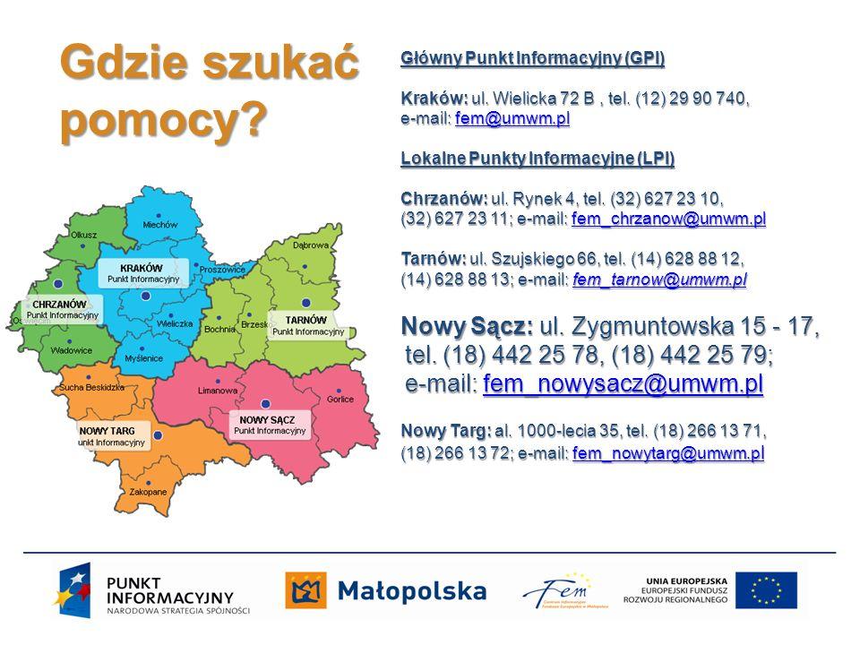 Główny Punkt Informacyjny (GPI) Kraków: ul. Wielicka 72 B, tel. (12) 29 90 740, e-mail: fem@umwm.pl fem@umwm.pl Lokalne Punkty Informacyjne (LPI) Chrz