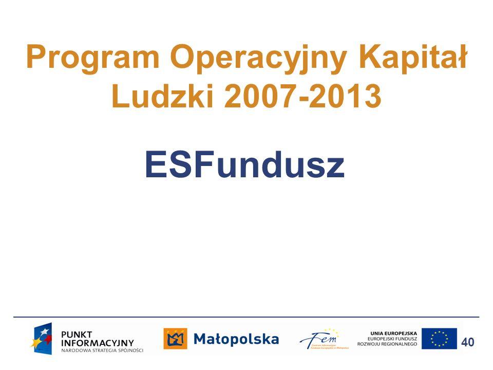 Program Operacyjny Kapitał Ludzki 2007-2013 40 ESFundusz