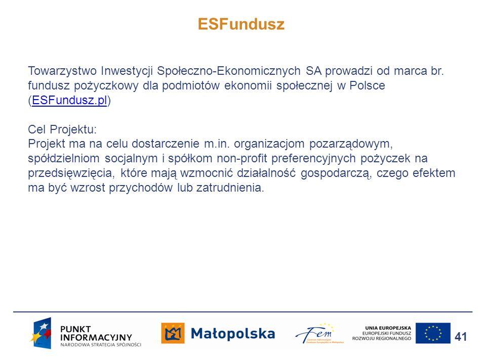 41 Towarzystwo Inwestycji Społeczno-Ekonomicznych SA prowadzi od marca br. fundusz pożyczkowy dla podmiotów ekonomii społecznej w Polsce (ESFundusz.pl