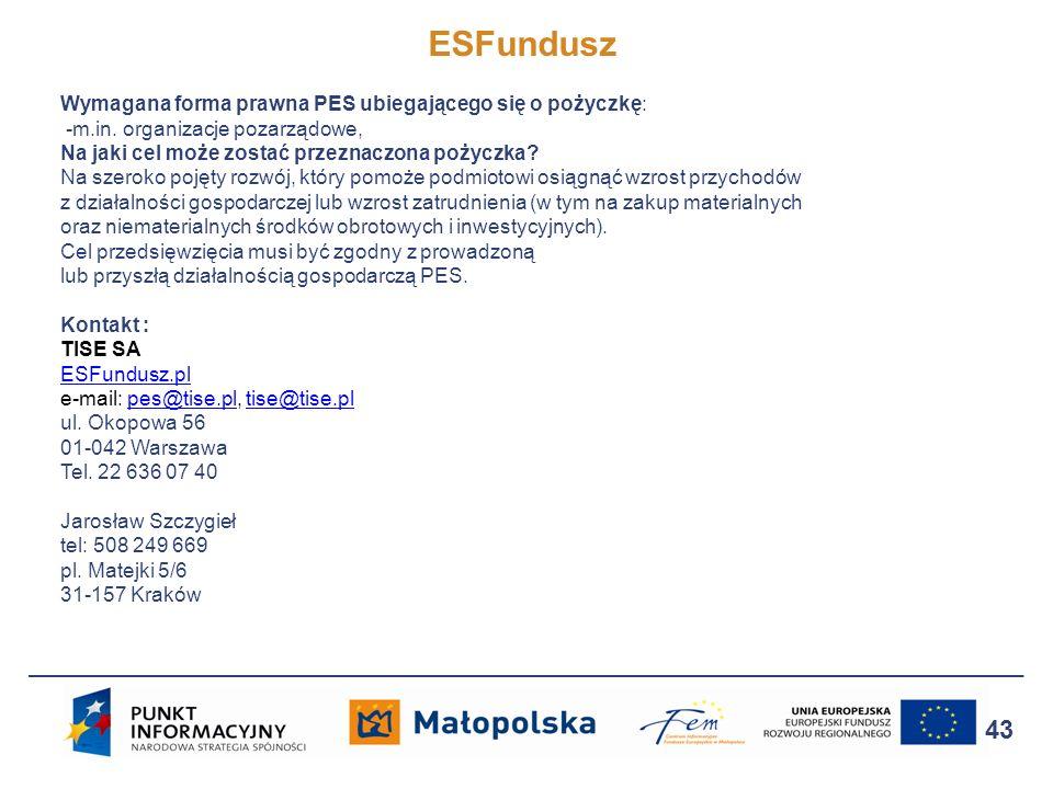 ESFundusz 43 Wymagana forma prawna PES ubiegającego się o pożyczkę: -m.in. organizacje pozarządowe, Na jaki cel może zostać przeznaczona pożyczka? Na
