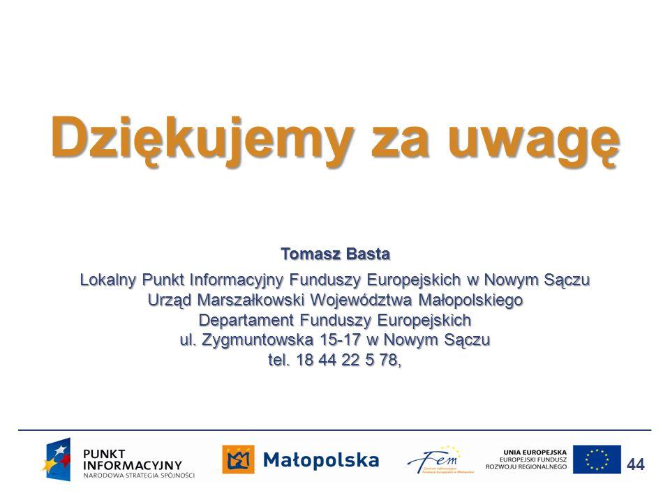 Tomasz Basta Lokalny Punkt Informacyjny Funduszy Europejskich w Nowym Sączu Urząd Marszałkowski Województwa Małopolskiego Departament Funduszy Europej