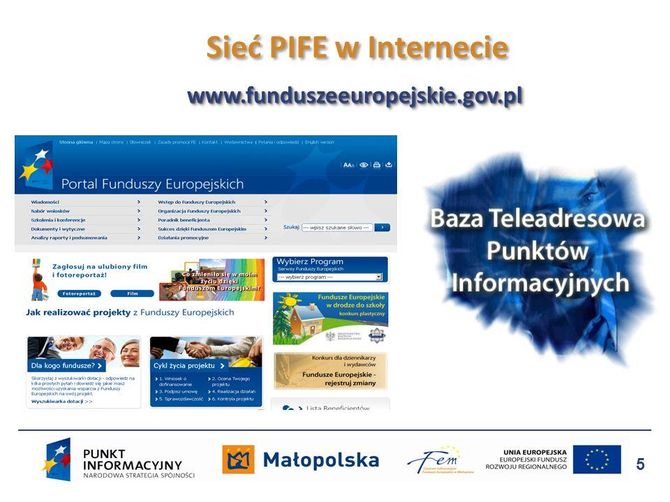 5 www.funduszeeuropejskie.gov.plwww.funduszeeuropejskie.gov.pl Sieć PIFE w Internecie