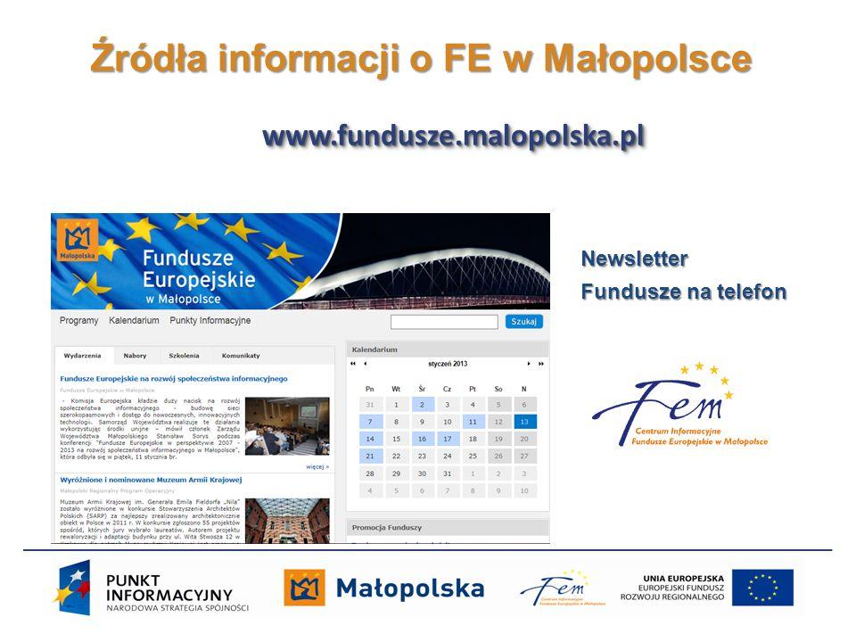 Źródła informacji o FE w Małopolsce Newsletter Fundusze na telefon www.fundusze.malopolska.plwww.fundusze.malopolska.pl