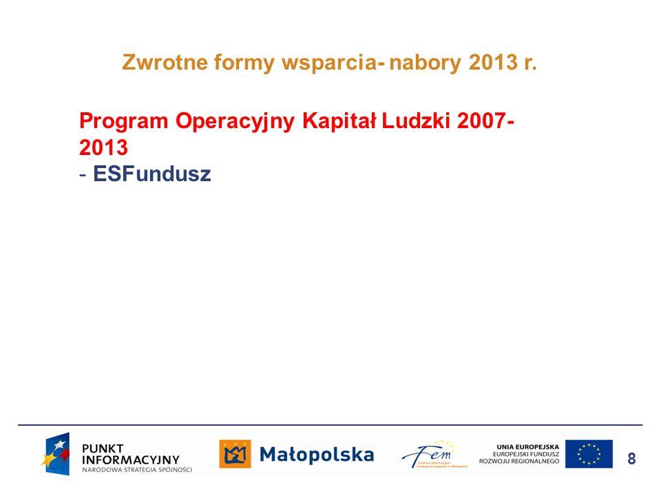 Zwrotne formy wsparcia- nabory 2013 r. 8 Program Operacyjny Kapitał Ludzki 2007- 2013 - ESFundusz