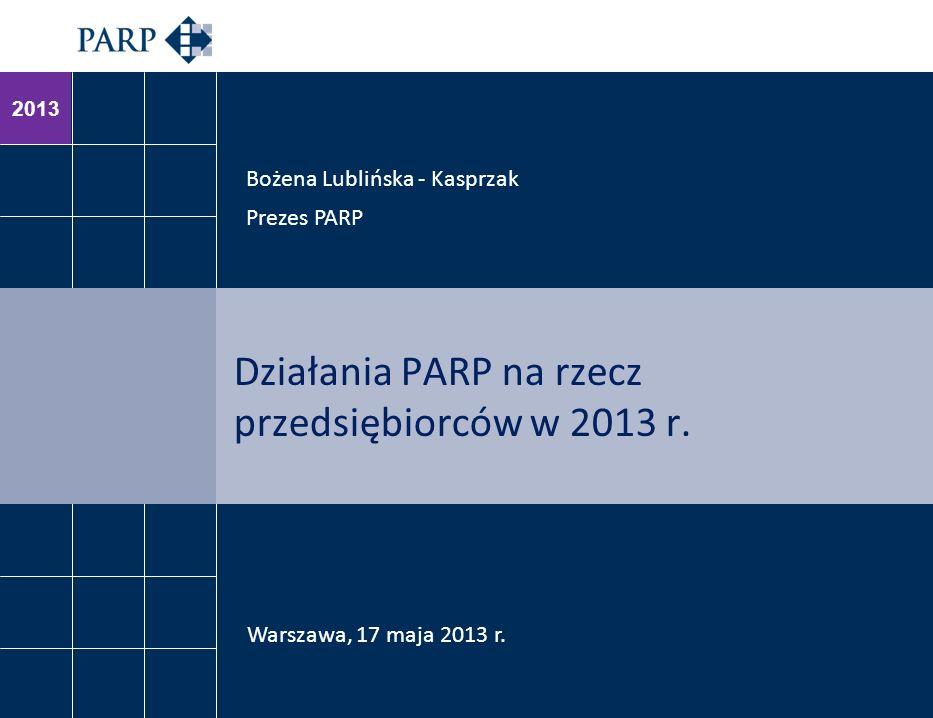 2013 Działania PARP na rzecz przedsiębiorców w 2013 r. Bożena Lublińska - Kasprzak Prezes PARP Warszawa, 17 maja 2013 r.