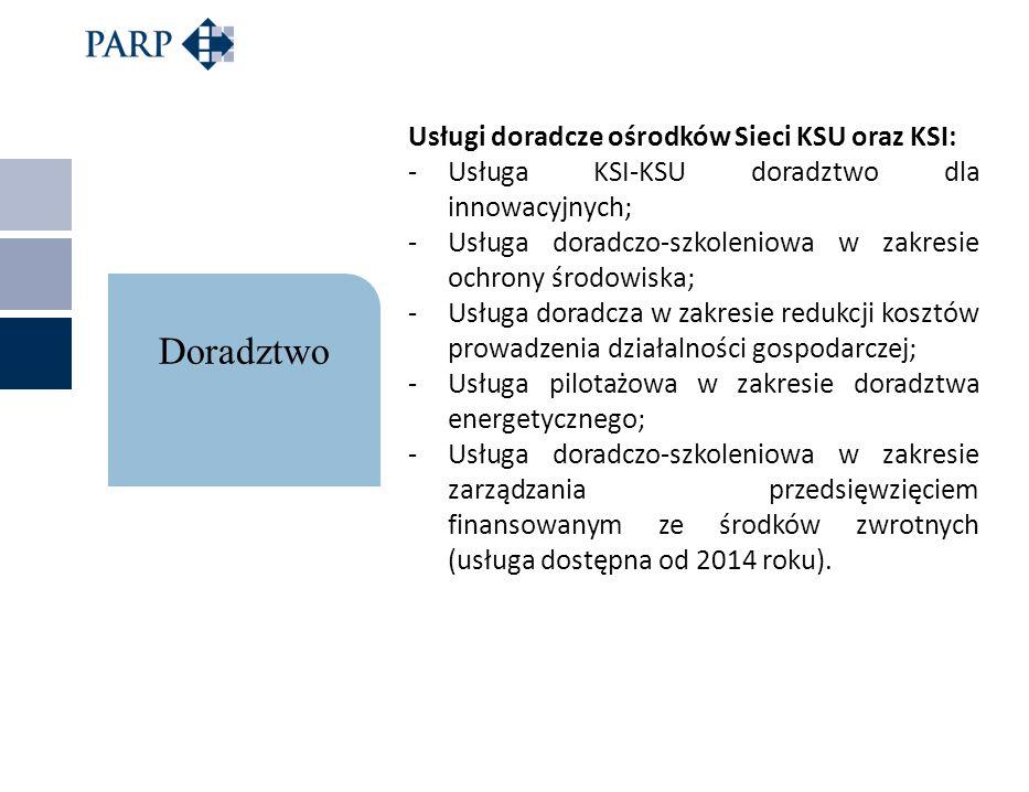 Usługi doradcze ośrodków Sieci KSU oraz KSI: -Usługa KSI-KSU doradztwo dla innowacyjnych; -Usługa doradczo-szkoleniowa w zakresie ochrony środowiska;