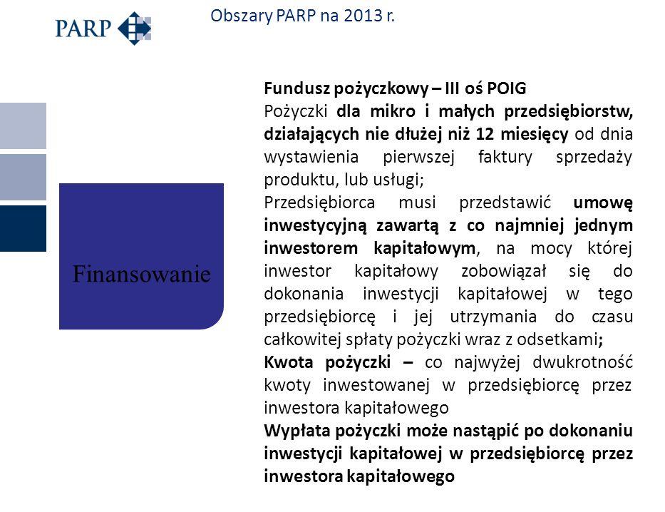 Obszary PARP na 2013 r. Fundusz pożyczkowy – III oś POIG Pożyczki dla mikro i małych przedsiębiorstw, działających nie dłużej niż 12 miesięcy od dnia